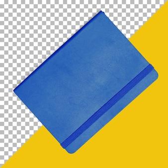 Taccuino blu isolato con nastro