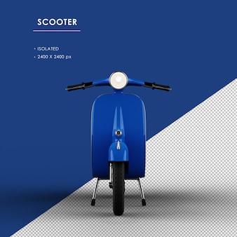 Scooter blu isolato dalla vista frontale