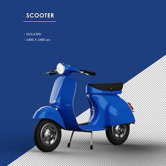 Scooter blu isolato dalla vista frontale sinistra