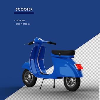 Scooter blu isolato dalla vista posteriore sinistra