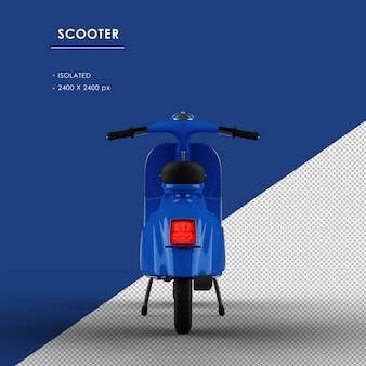 Scooter blu isolato dalla vista posteriore