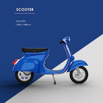 Scooter blu isolato dalla vista da destra