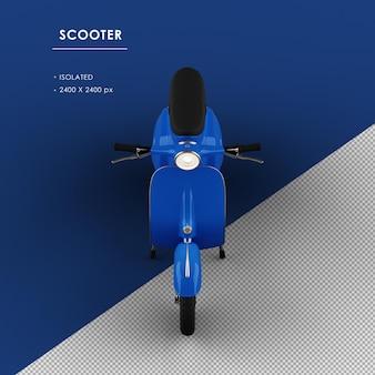 Scooter blu isolato dalla vista frontale superiore