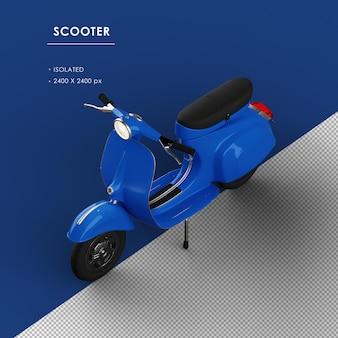 Scooter blu isolato dalla vista frontale superiore sinistra