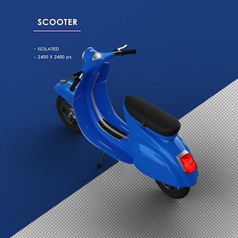 Scooter blu isolato dalla vista posteriore superiore sinistra