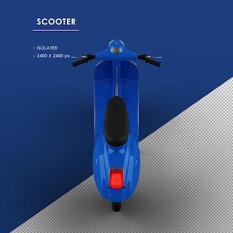 Scooter blu isolato dalla vista posteriore superiore