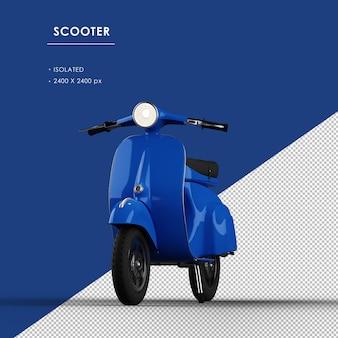 Scooter blu isolato dalla vista ad angolo retto superiore