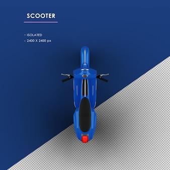 Scooter blu isolato dalla vista dall'alto