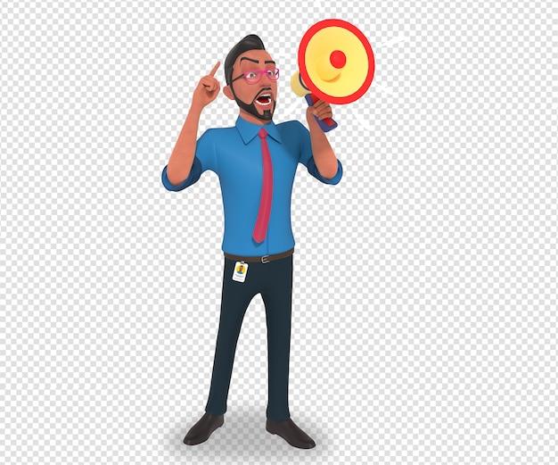 Illustrazione di carattere isolato della mascotte del fumetto dell'uomo d'affari che fa annuncio