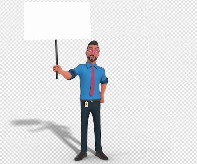 Illustrazione di carattere isolato della mascotte del fumetto dell'uomo d'affari che tiene bandiera bianca in bianco