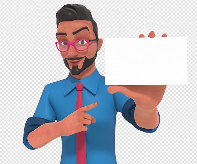 Illustrazione di carattere isolato della mascotte del fumetto dell'uomo d'affari che tiene scheda bianca in bianco