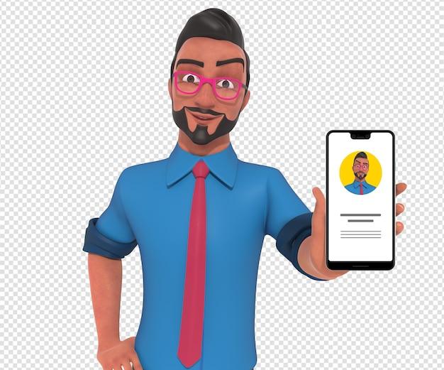 Illustrazione di carattere isolato della mascotte del fumetto dell'uomo d'affari che tiene il telefono cellulare