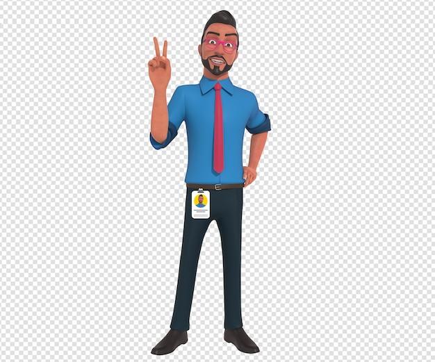 Illustrazione isolata del carattere della mascotte del fumetto dell'uomo d'affari che fa posa di vittoria