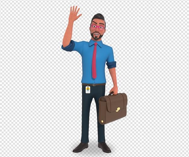 Illustrazione di carattere isolato della mano d'ondeggiamento della mascotte del fumetto dell'uomo d'affari