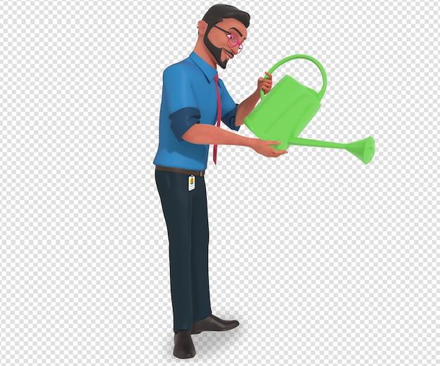 Illustrazione di carattere isolato della mascotte del fumetto dell'uomo d'affari