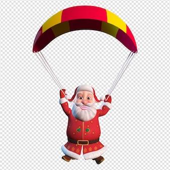 Illustrazione di carattere isolato di atterraggio di babbo natale con il paracadute