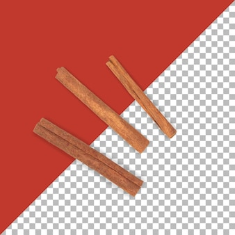 Bastoncini di cannella isolati su sfondo trasparente.