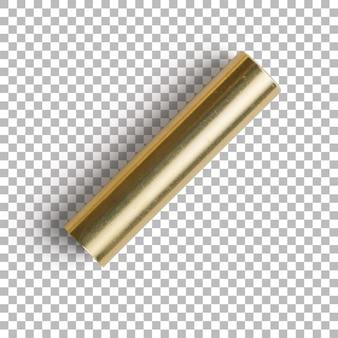 Primo piano isolato del cappuccio dorato della penna a sfera