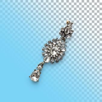 Primo piano isolato dell'orecchino d'argento lucido