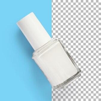 Vista isolata del primo piano del bianco dello smalto per unghie.