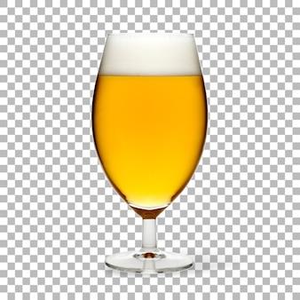 Birra fredda isolata su vetro con schiuma