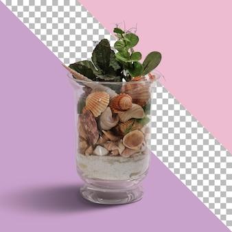 Vaso di cristallo isolato con pieno di conchiglie