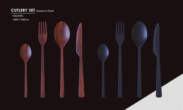 Set di posate in legno scuro e plastica nere isolate cucchiaio cucchiaio da tè forchetta e coltello