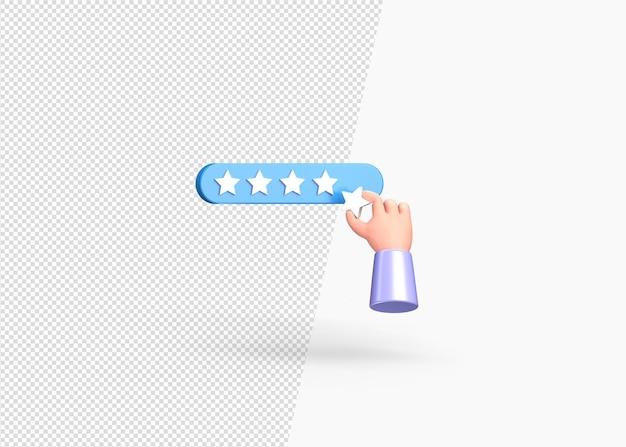 Mano isolata mettendo il concetto di cinque stelle con rendering 3d