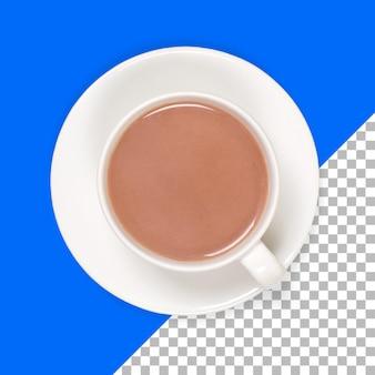 Tè verde caldo isolato sulla tazza bianca
