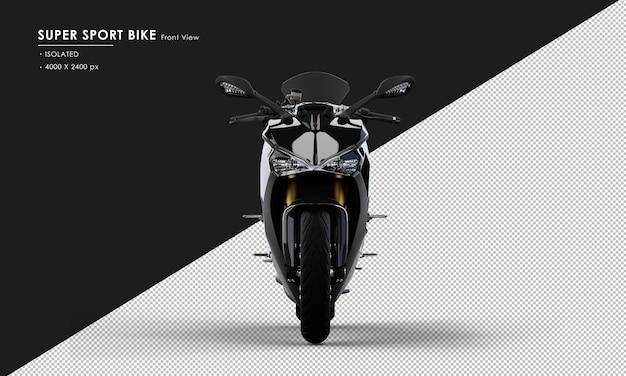Isolato jet black super sport bike dalla vista frontale