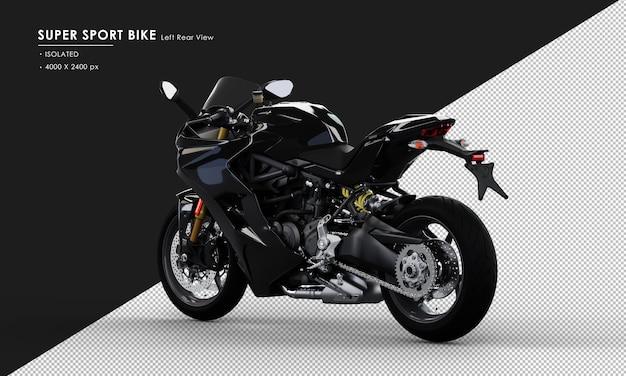 Bici super sport jet black isolata dalla vista posteriore sinistra