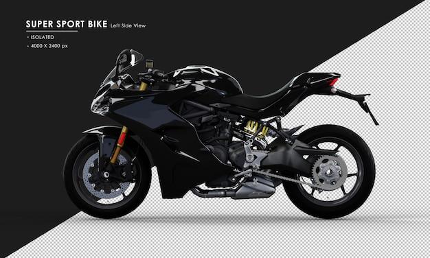 Isolato jet black super sport bike dalla vista laterale sinistra