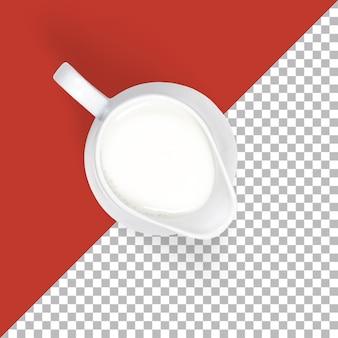 Brocca isolata con vista dall'alto del latte