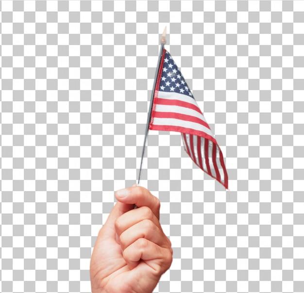 Mano maschio isolata che tiene una bandiera degli sua