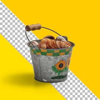 Secchio di metallo isolato con pieno di conchiglie