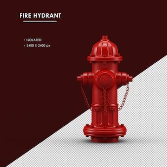 Vista frontale isolata dell'idrante antincendio rosso