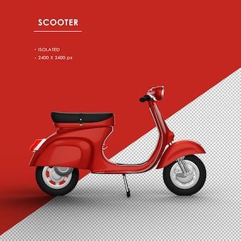 Scooter rosso isolato dalla vista da destra