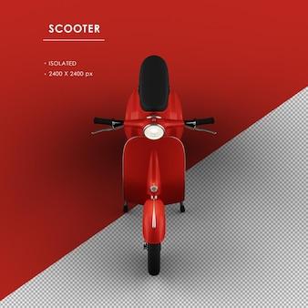 Scooter rosso isolato dalla vista frontale superiore