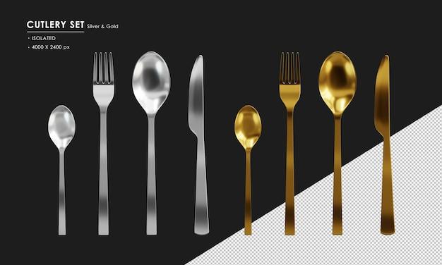 Set di posate in argento e oro isolato cucchiaio cucchiaino da tè forchetta e coltello