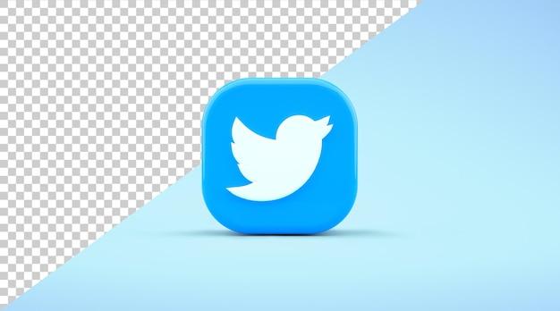 Vista frontale isolata dell'icona dell'app twitter su uno sfondo blu nel rendering 3d