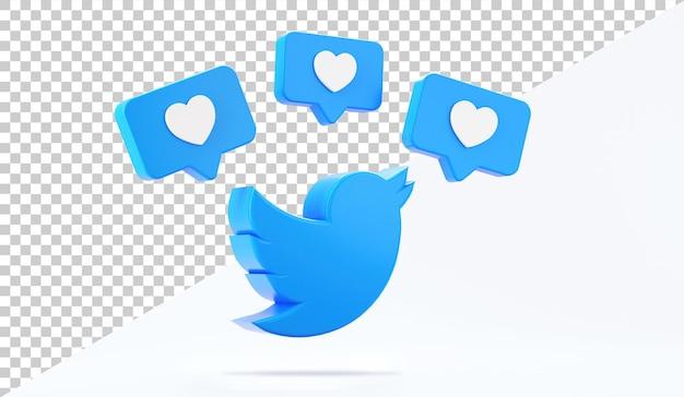 Icona isolata dell'uccello di twitter con mi piace su uno sfondo bianco nel rendering 3d