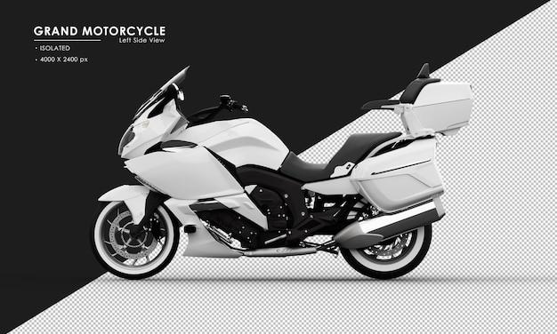 Grande motocicletta bianca isolata dalla vista laterale sinistra