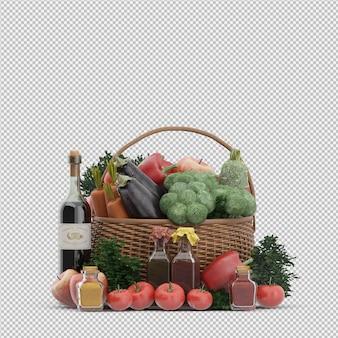 Cestino isometrico con verdure e frutta in cestino di vimini Psd Premium