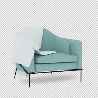 Sedia isometrica in rendering 3d