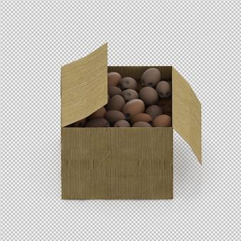 Le noci di cocco isometriche 3d rendono