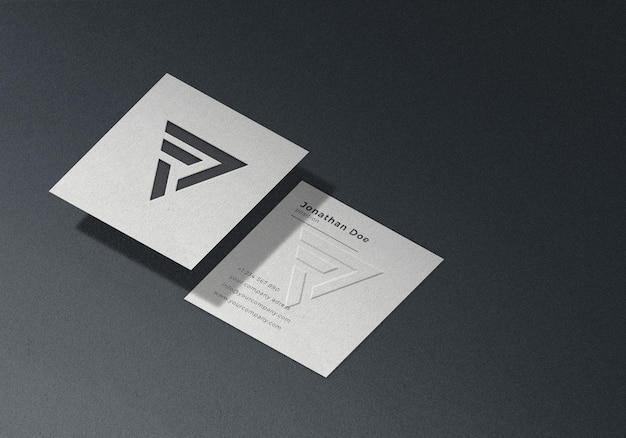 Mockup di biglietto da visita quadrato in rilievo isometrico