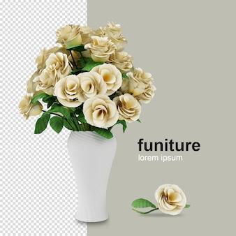 Fiore isometrico in vaso nella rappresentazione 3d isolata Psd Premium