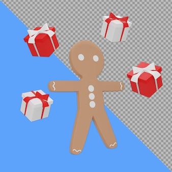 Pan di zenzero isometrico con la rappresentazione di progettazione della scatola regalo isolata