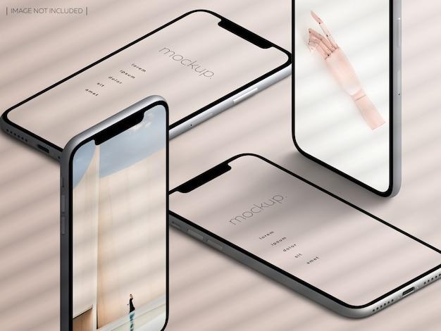 Mockup di schermata dell'app per dispositivo smartphone isolato isometrico