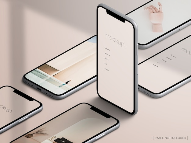 Mockup di schermata dell'app dispositivo isometrico isolato smartphone